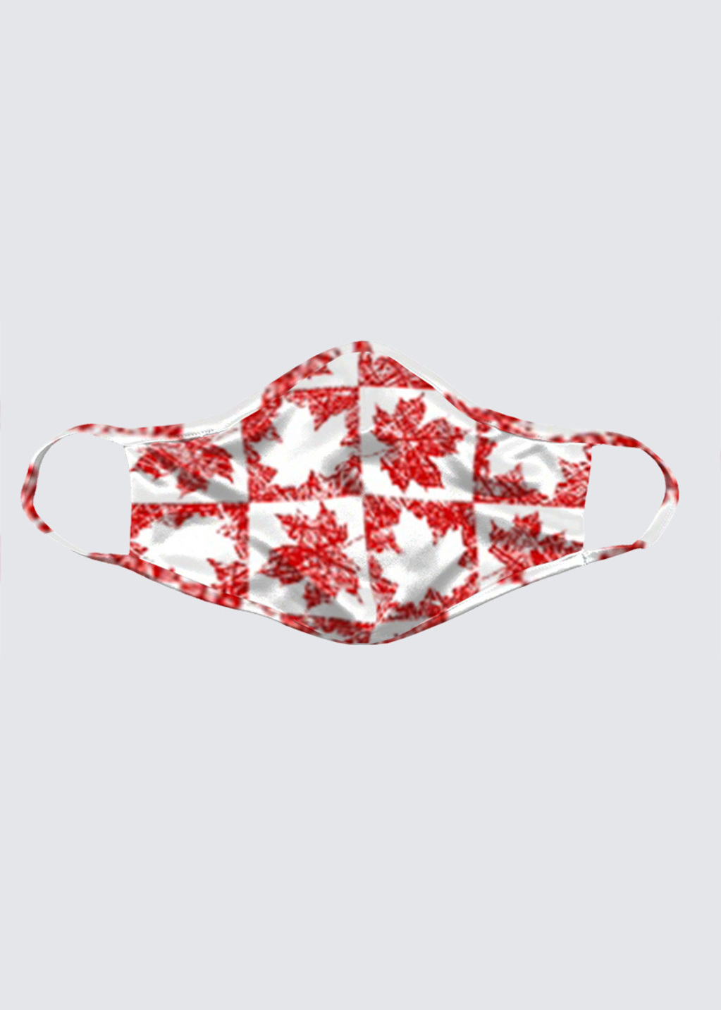 Picture of Canadian-Maple-Leaf-Checker-White-Leaves-with-RW-Spicule-Background-Jocelyn-Sperduto Reusable Face Mask (pack of 2)