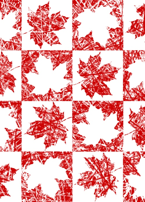 Picture of Canadian Maple Leaf Checker White Leaves with RW Spicule Background Jocelyn Sperduto