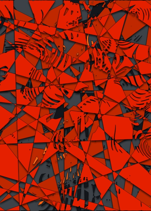 Picture of Red Grey Abstract Mosaic